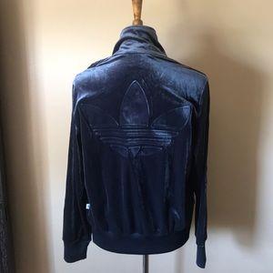 Rare NWT adidas track velour zip jacket M